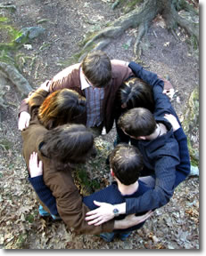 Group of teens in a huddle
